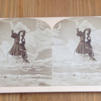 Stereoview Woman on Bicycle Rides on Tight Rope Circus Act?? - Photographs
