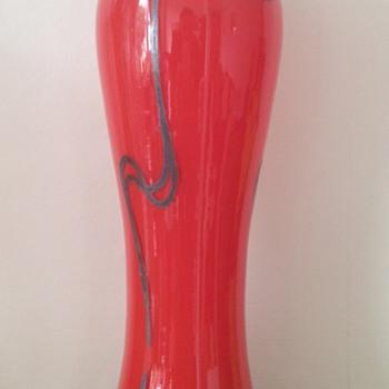 Late Art Nouveau tango glass vase with silver enamelling - Art Glass