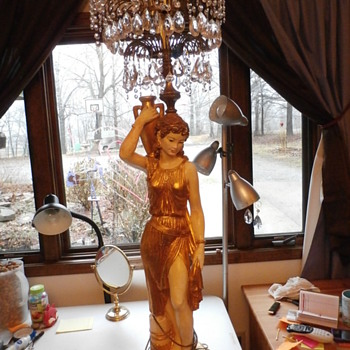 Antique Greek Goddess Grecian Lady Crystal Chandelier Floor Lamp - Lamps