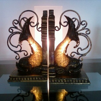 Stunning Fish (Koi?) Bookends - Books