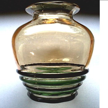 "Still more Iridescence ! / 5"" Vase with Glass Bands / Unknown Maker and Age - Art Glass"
