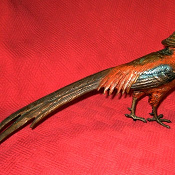 Antique Austrian Cold Painted Bronze Pheasant - Art Deco