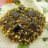 Georgian 15ct Gold Table Cut Garnet Cannetille work brooch