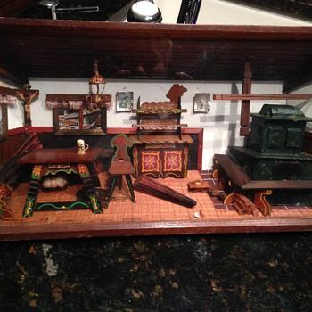 Large Vintage German Wooden Diorama - Folk Art