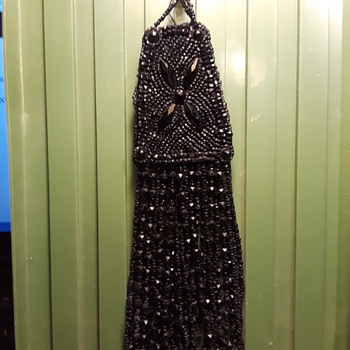 old black glass beaded tassel - Accessories