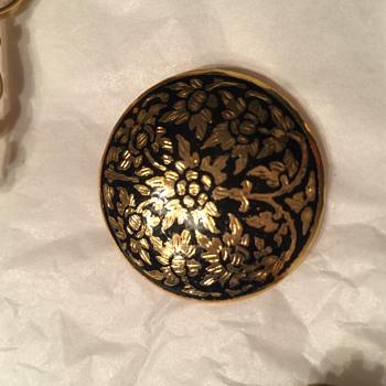 Vintage Damascene Gold & black round brooch
