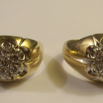 """Identical """"Pair"""" Of Men's Diamond Cluster Rings From The 1960's - Fine Jewelry"""