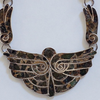 Taxco Mexican Silver & Turquoise Thunderbird Necklace – ca 1950 - Fine Jewelry