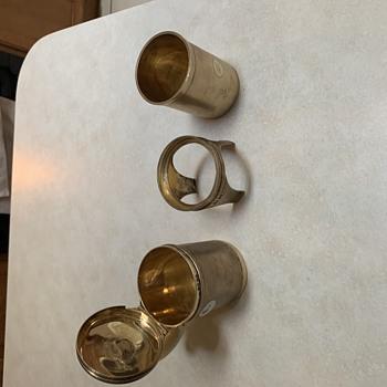 English sterling shaving mug on stand - Silver