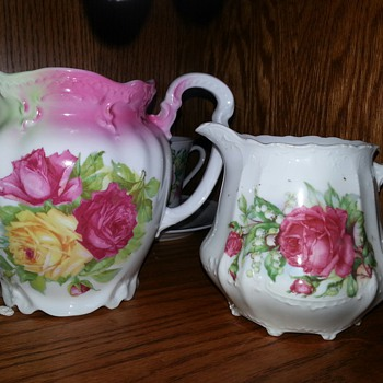 Antique Embossed Porcelain Milk Pitcher - China and Dinnerware