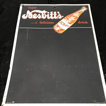 Nesbitts soda menu board  - Advertising