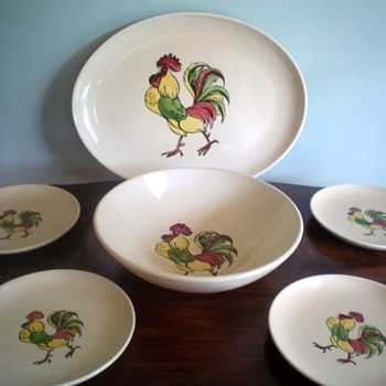 "A Selection Of Vintage Metlox Pottery ""Skinny Rooster Table Ware Line"" Made For California A & P Grocery Stores - Pottery"