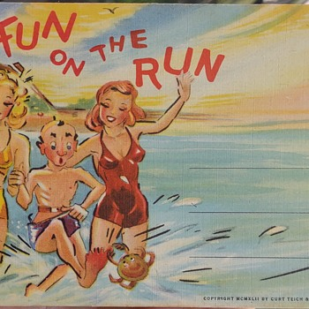 1940's Postcard Folder Linen Booklet - Postcards