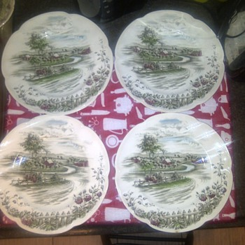 """""""The Road Home"""" 4 Dinner Plates. by: Johnson Bros. Made in england."""