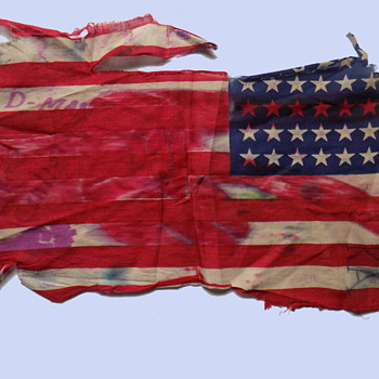 Original 1960s Chicago Area Destroyed Protest Flag  - Military and Wartime