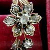 Victorian Pink Rose Gold  (14K) rose cut diamond Flower Brooch