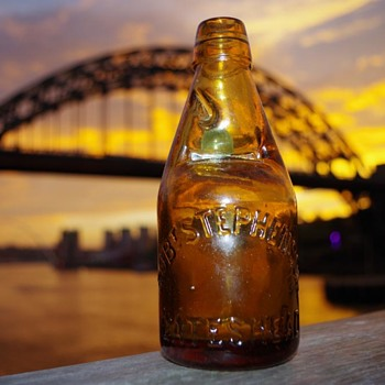 ROBERT STEPHSON AMBER DUMPY CODD BOTTLE - Bottles