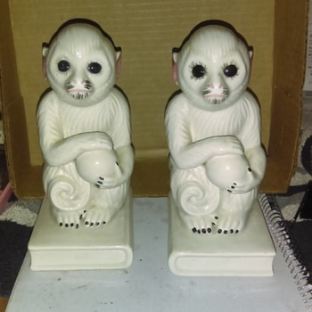 Mann Japan vintage monkey bookends - Animals