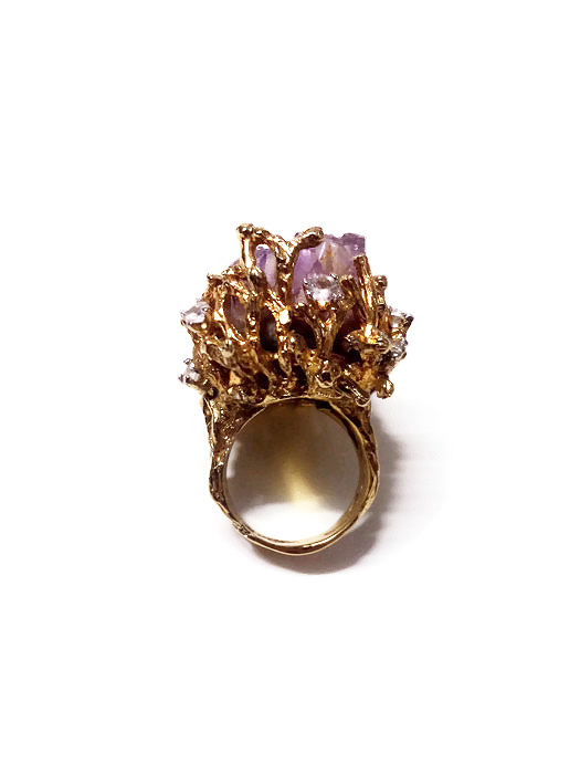 Vintage Panetta Extra Large Raw Amethyst Brutalist Ring