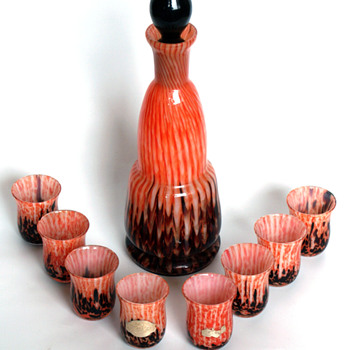 RARE WELZ Decanter set with FWK label - Art Glass
