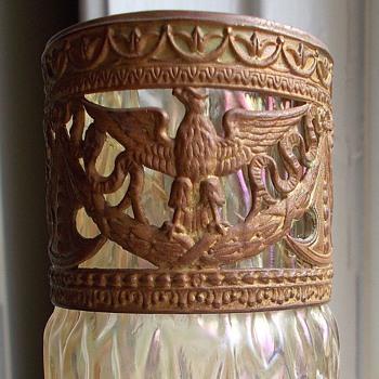 Kralik Martele MOP Iridescent Cranberry Applied Braid Brass Eagle Rim Vase - Art Glass