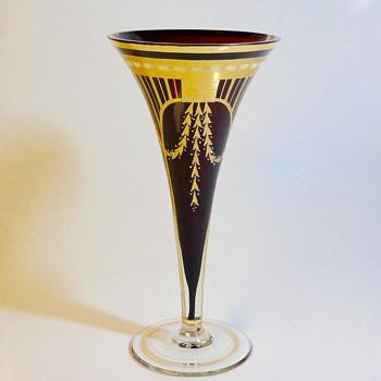 Cranberry Glass, Gold Gild & Enamel Work, Moser Flute vase, Circa-1920