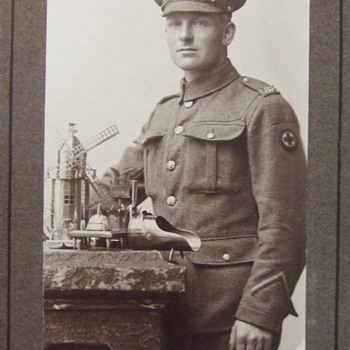 RMAC soldier with his trench art - Photographs