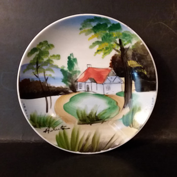 Japanese hand painted plate by Huruto (?) - Asian