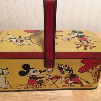 Vintage Mickey Mouse Tin Lunch Box/Tin - circa 1934 - Advertising
