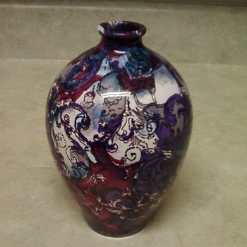 PURPLE PASLEY ART VASE - Asian