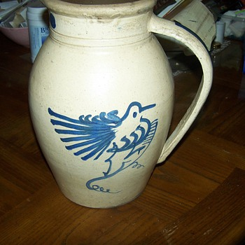 Very Early Stoneware Pitcher with Bird - China and Dinnerware