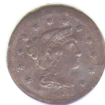 1854 one cent reversed image - US Coins