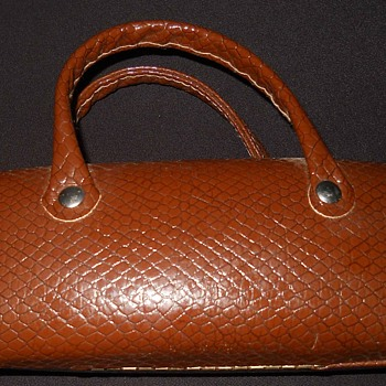 Vintage Old Snake Skin Leather Eyeglass Box with Small Handle ?? - Bags