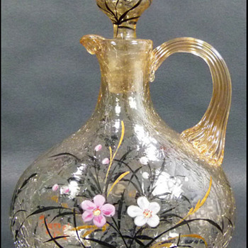 Fritz Heckert Enameled Crackle Glass Decanter   - Art Glass