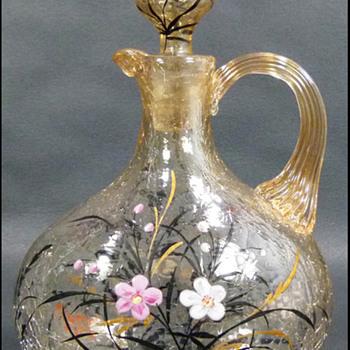Fritz Heckert Enameled Crackle Glass Decanter