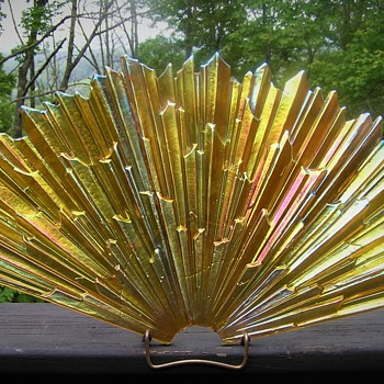 Iridescent pressed glass lamp part - Art Deco