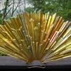 Iridescent pressed glass lamp part