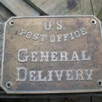 1860s US Post Office General Delivery brass sign - Office