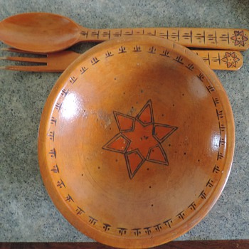 Munising wooden bowl fork and spoon carved star made in Japan