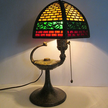 Antique Slag Glass Aladdin Genie Lamp