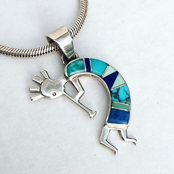 Vintage Native American Sterling Silver Kokopelli Necklace Turquoise Stone Inlay