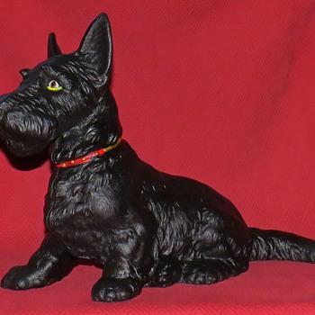 "Antique Large Hubley #412 ""Sitting Scottie"" Cast Iron Doorstop - Animals"