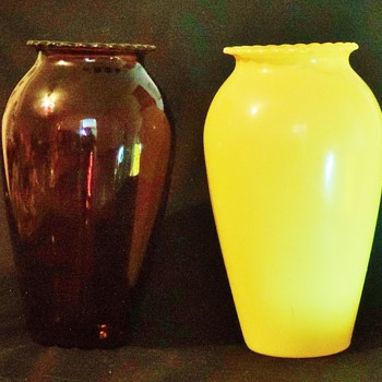 Anchor Hocking Royal Ruby  Glass Vase Hoover in Fired-on ware in Yellow?