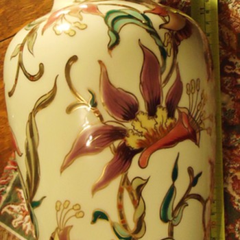 Hungary  Zsolnay 14 inch Vase, from thrift store,  know nothing about it, but pretty!! - Pottery