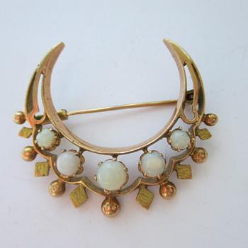 Victorian crescent moon brooch - Fine Jewelry