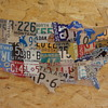 United States Map Showing Vintage Auto License Plates....