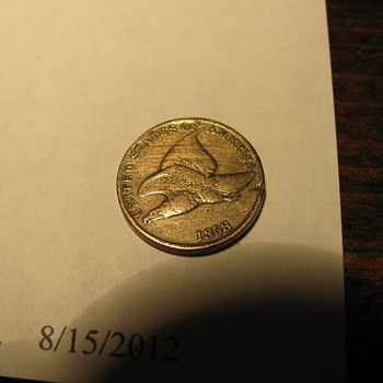 1858 Flying Eagle one cent & Indianhead 1875 one cent