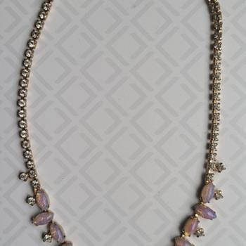 Vintage Denbe Fire Opal Necklace - Costume Jewelry
