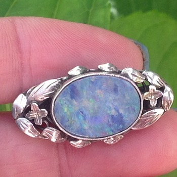 Silver Opal Brooch - Art Deco