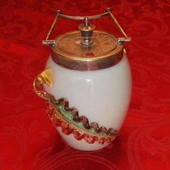 Art Glass Jelly Jar with applied Leaves - Art Glass